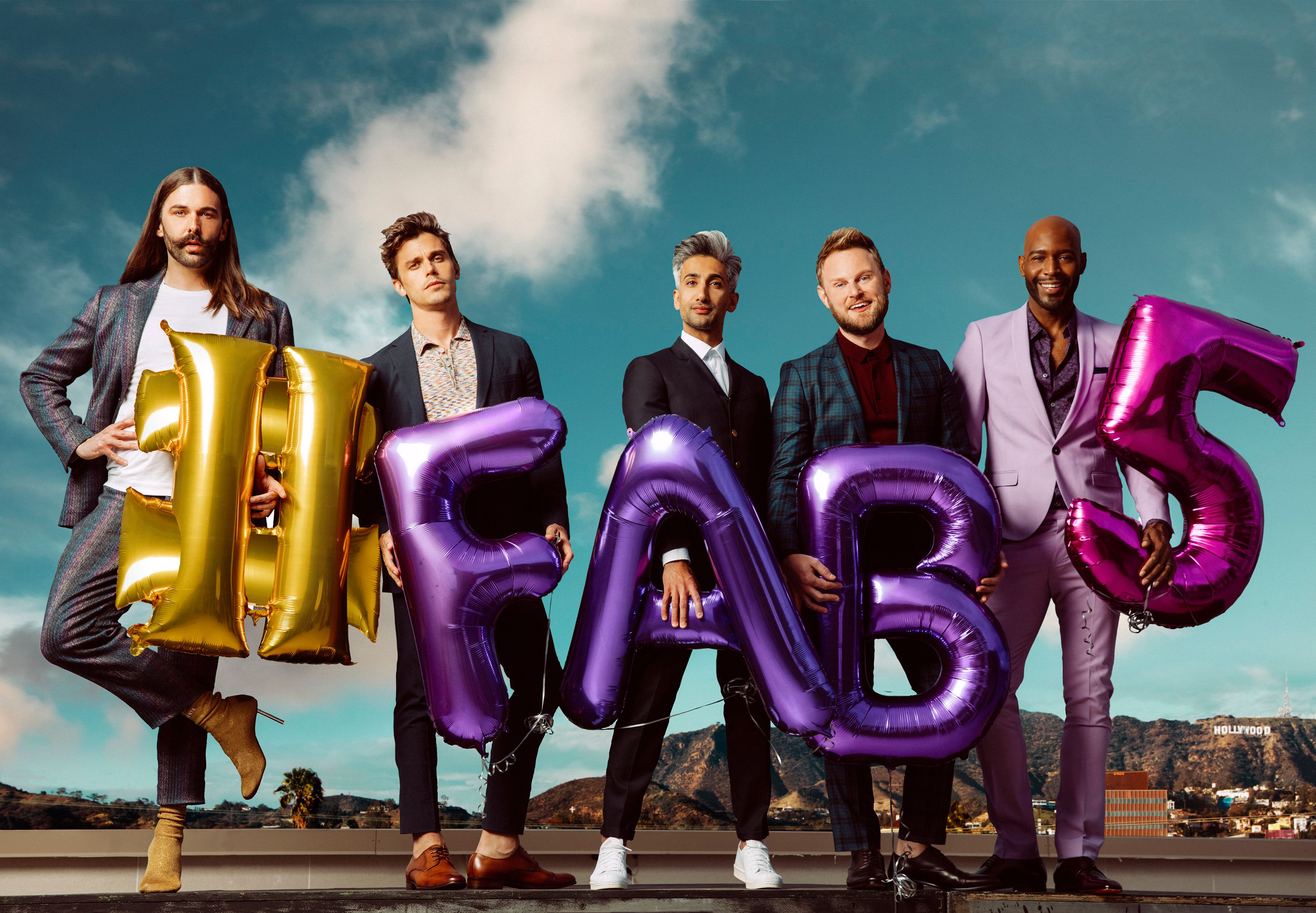 Jonathan Van Ness, Antoni Porowski, Tan France, Bobby Berk, and Karamo Brown from Queer Eye