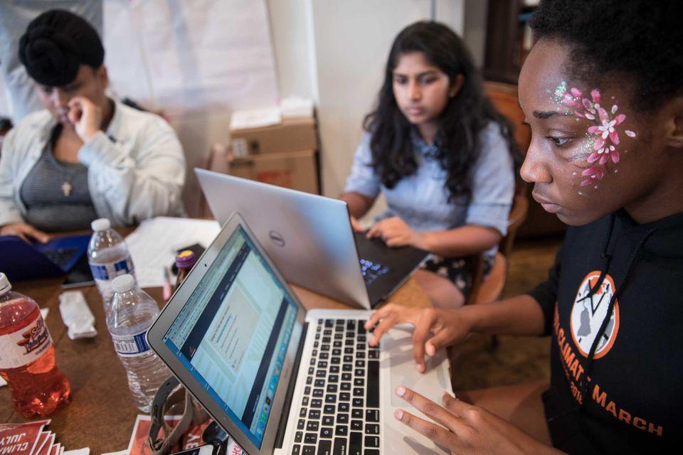 Elsa Mengistu of Greensboro, North Carolina, 16, Nadia Nazar of Baltimore, Maryland, 16, and Mikaela...