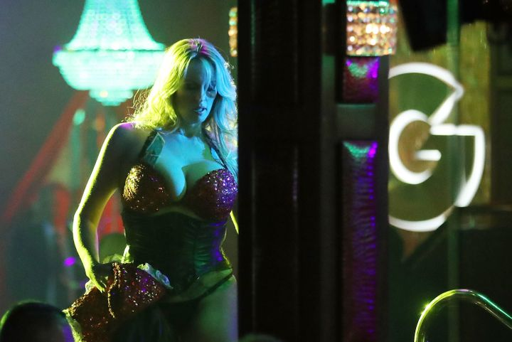 Stormy Daniels, aka Stephanie Clifford,performs at the Solid Gold Fort Lauderdale strip club on March 9in Pompano