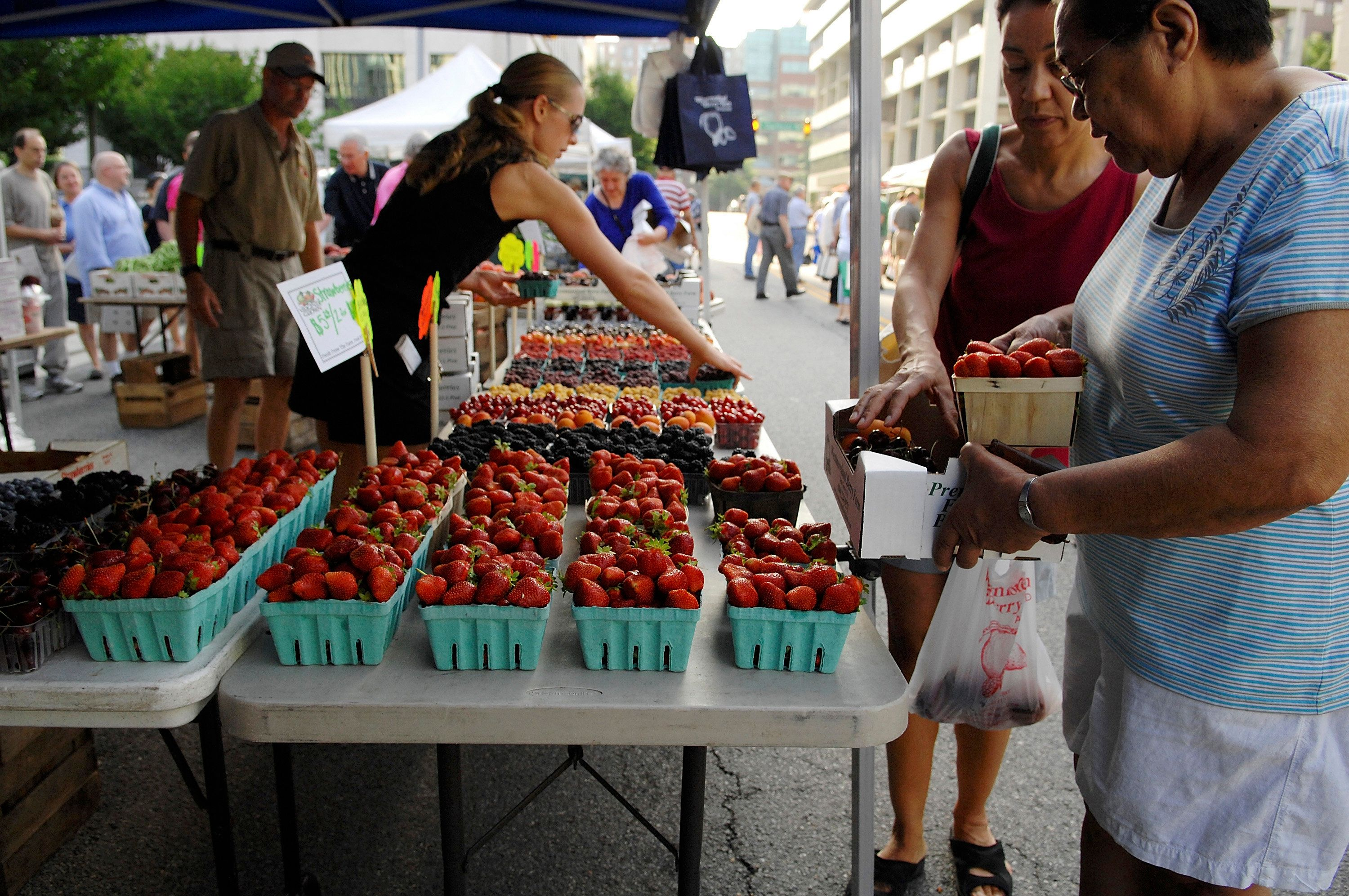 Customers select strawberries at the Westmoreland Berry Farm stand at the Arlington Farmers' Market in Arlington, Virginia in this picture taken June 28, 2008. While price hikes are rippling through farmers' markets across the United States, they are doing little to deter shoppers looking for local produce. Picture taken June 28. REUTERS/Jonathan Ernst   (UNITED STATES)  To match feature FOOD-USA/FARMERSMARKET