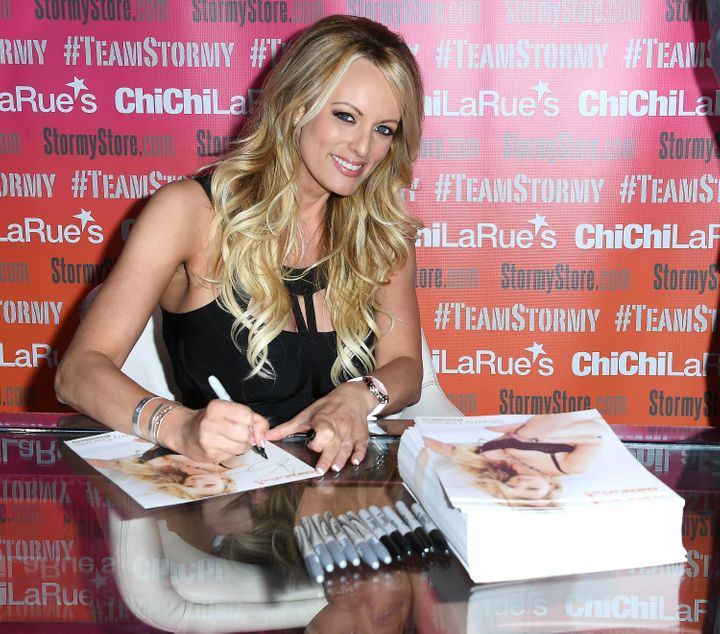 Stormy Daniels greets fans at an event in May.