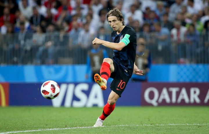 Luka Modric during the 2018 FIFA World Cup semifinal match between England and Croatia at Luzhniki Stadium in Moscow on
