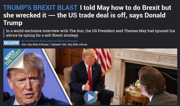 도널드 트럼프 미국 대통령과 독점 인터뷰 기사를 실은 영국 일간 '더