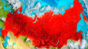 Russia highlighted in red on planet Earth. 3D illustration. Elements of this image furnished by NASA. 3D model of planet created and rendered in Cheetah3D software, 7 Dec 2017. URL of the source map: https://visibleearth.nasa.gov/view.php?id=57752