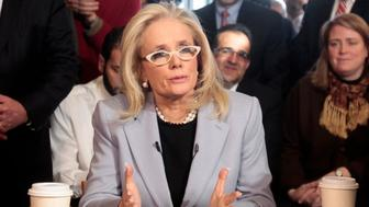 Debbie Dingell announces she is seeking to replace her husband Rep. John Dingell (D-Mich) in office as she launches her congressional campaign during a news conference at a coffee shop in Dearborn, Michigan February 28, 2014.   REUTERS/Rebecca Cook (UNITED STATES - Tags: POLITICS)