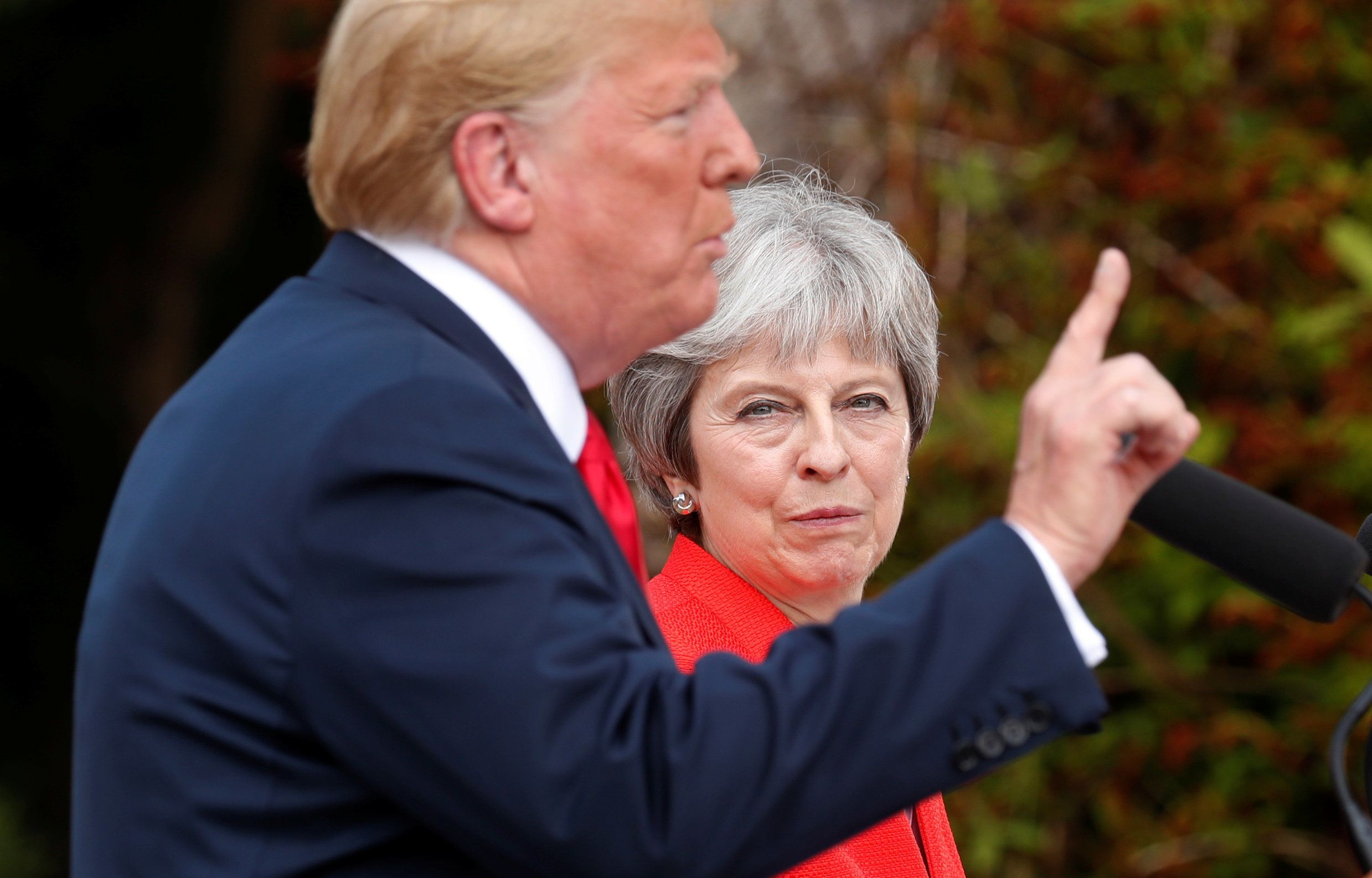 U.S. President Donald Trump and British Prime Minister Theresa May hold a press conference after their meeting at Chequers in Buckinghamshire, Britain July 13, 2018. REUTERS/Kevin Lamarque