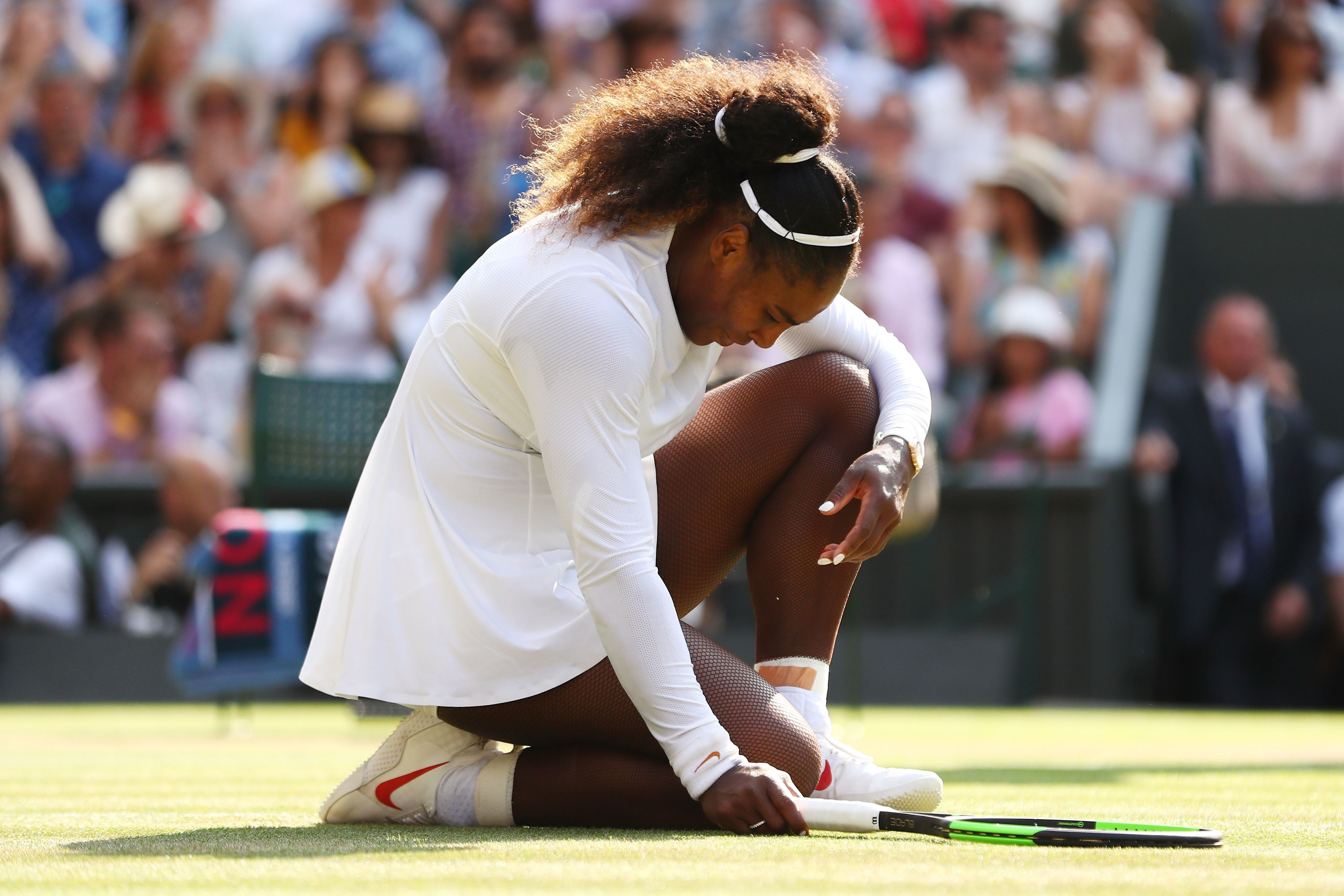 LONDON, ENGLAND - JULY 14:  Serena Williams of The United States appears dejected during the Ladies' Singles final against Angelique Kerber of Germany on day twelve of the Wimbledon Lawn Tennis Championships at All England Lawn Tennis and Croquet Club on July 14, 2018 in London, England.  (Photo by Michael Steele/Getty Images)