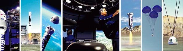 블루 오리진의 준궤도 우주여행에서 로켓 발사부터 무중력 체험, 귀환까지 전 과정을 시뮬레이션한 애니메이션 이미지들. 총 여행시간은 11분이다. 블루 오리진은 내년부터 티켓을 판매한다고...