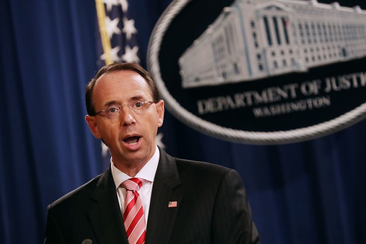 U.S. Deputy Attorney General Rod Rosenstein announced indictments against 12 Russian intelligence agents for hacking computer