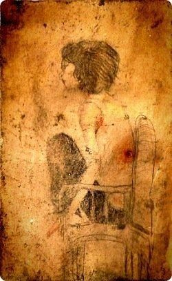 그가 천안함에서 그린 그림 중 하나. 노희경 작가의 책 '지금 사랑하지 않는 자, 모두 유죄'의 표지를 베껴 그렸다. 천안함과 함께 바다에 가라앉았다가 인양 뒤
