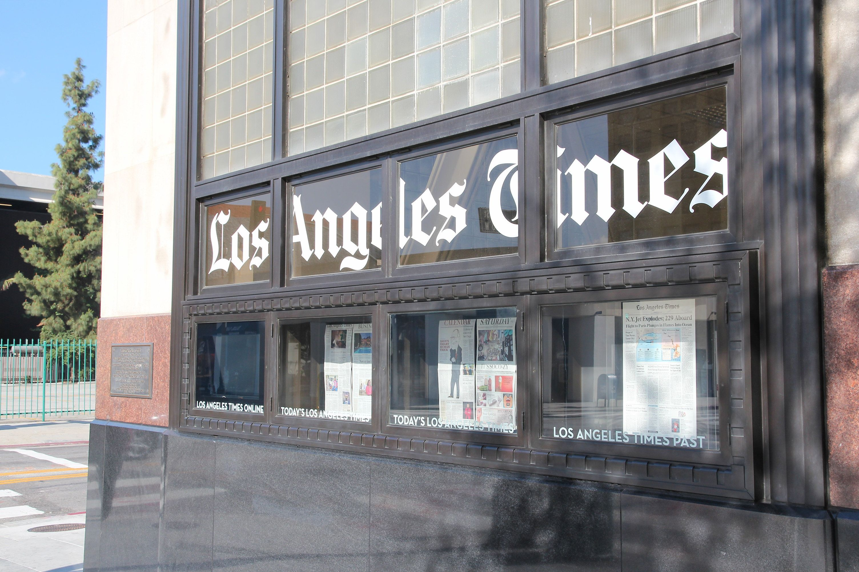 Los Angeles Times office in Los Angeles. LA Times has been published since 1881.