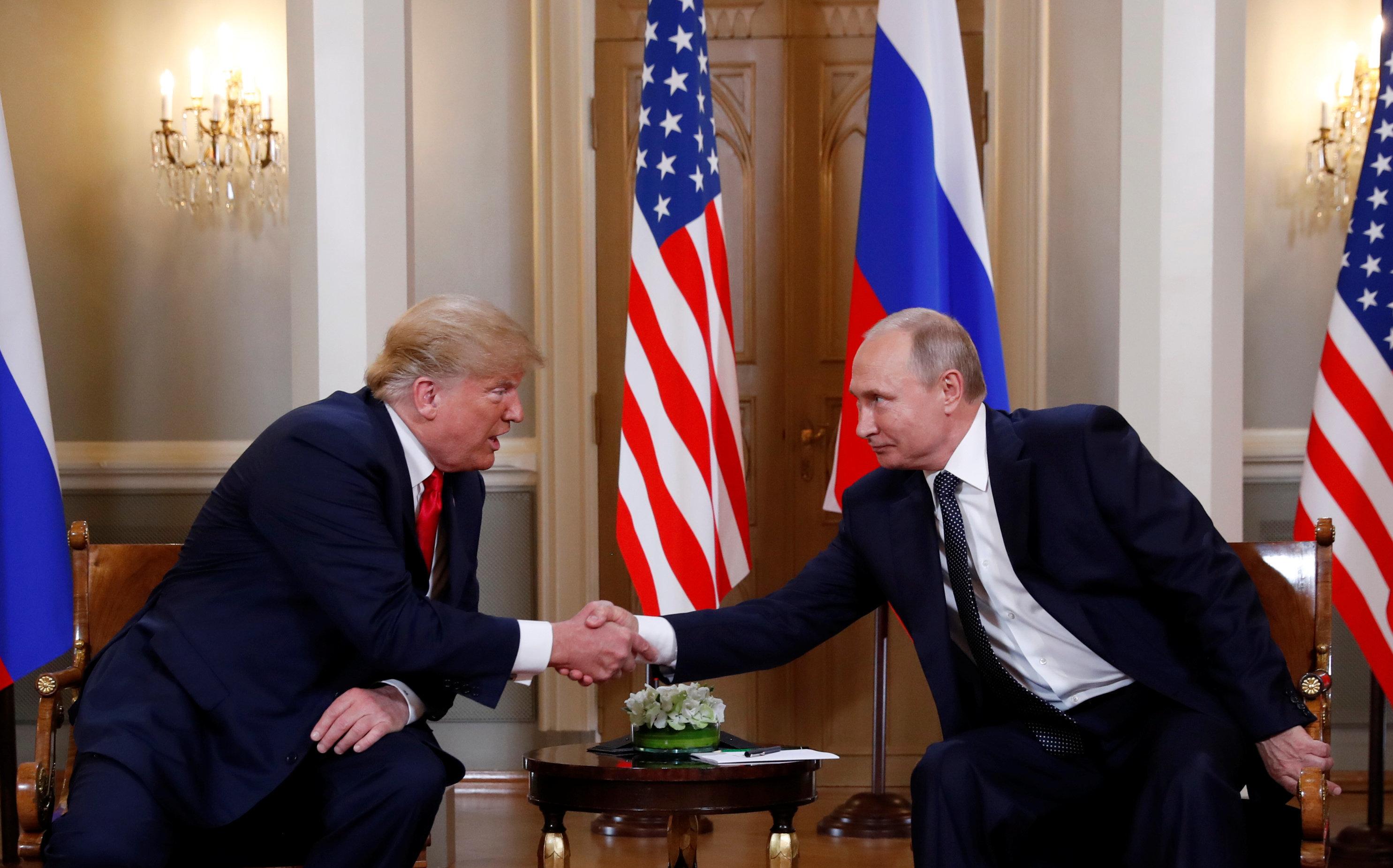 U.S. President Donald Trump meets with Russian President Vladimir Putin in Helsinki, Finland, July 16, 2018.     REUTERS/Kevin Lamarque