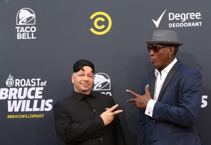 Jeff Ross and Dennis Rodman arrive to the Comedy Central 'Roast of Bruce Willis' held on July 14, 2018 in Los Angeles, Califo