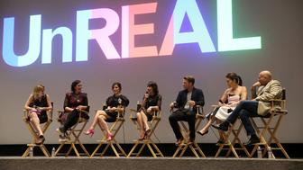LOS ANGELES, CA - JUNE 04:  (L-R) TV personality Elizabeth Wagmeister, Co-Creator and executicve producer Sarah Gertrude Shapiro, actress Shiri Appleby, actress Constance Zimmer, actor Freddie Stroma, executive producer Stacy Rukeyser and executive producer Robert M. Sertner attend The Emmy FYC Screening With The 'UnREAL' Cast and Executive Producers hosted by Lifetime at Harmony Gold Theatre on June 4, 2016 in Los Angeles, California.  (Photo by Jesse Grant/Getty Images for A+E Networks)