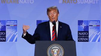 U.S. President Donald Trump holds a news conference after participating in the NATO Summit in Brussels, Belgium July 12, 2018. REUTERS/Yves Herman