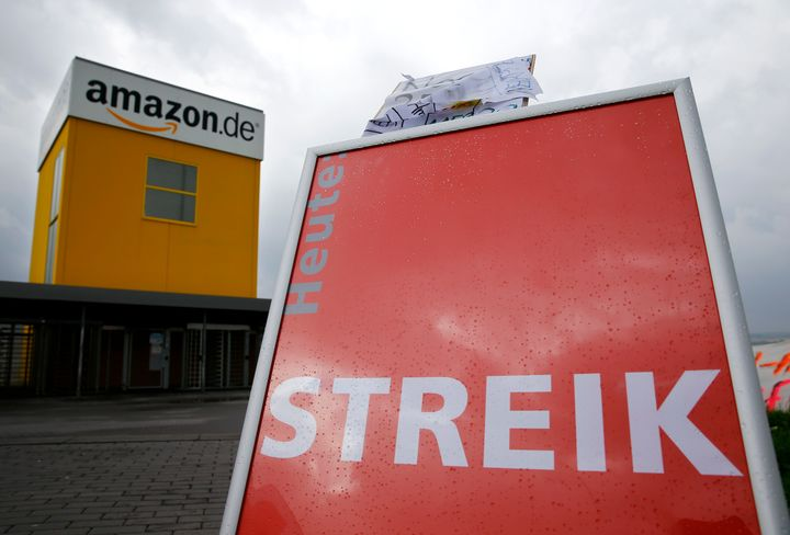 A Verdi union placard reading 'strike' stands outside the Amazon.de distribution centre in Bad Hersfeld September 22, 2014.