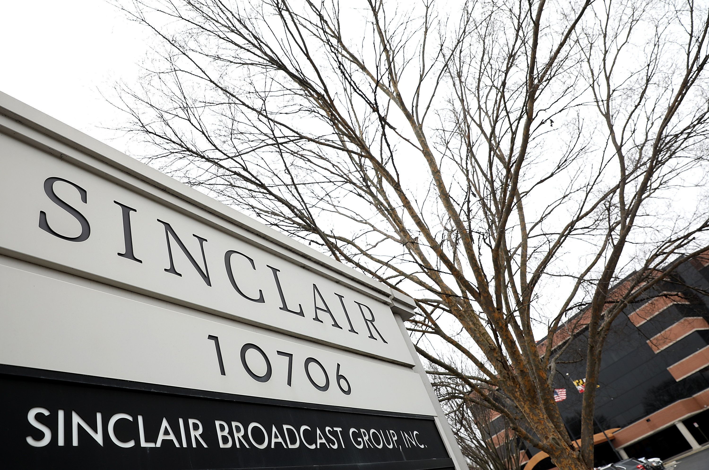 HUNT VALLEY, MD - APRIL 03:  The headquarters of the Sinclair Broadcast Group is shown April 3, 2018 in Hunt Valley, Maryland. The company, the largest owner of local television stations in the United States, has drawn attention recently for repeating claims by U.S President Donald Trump that traditional television and print publications offer 'fake' or biased news.  (Photo by Win McNamee/Getty Images)