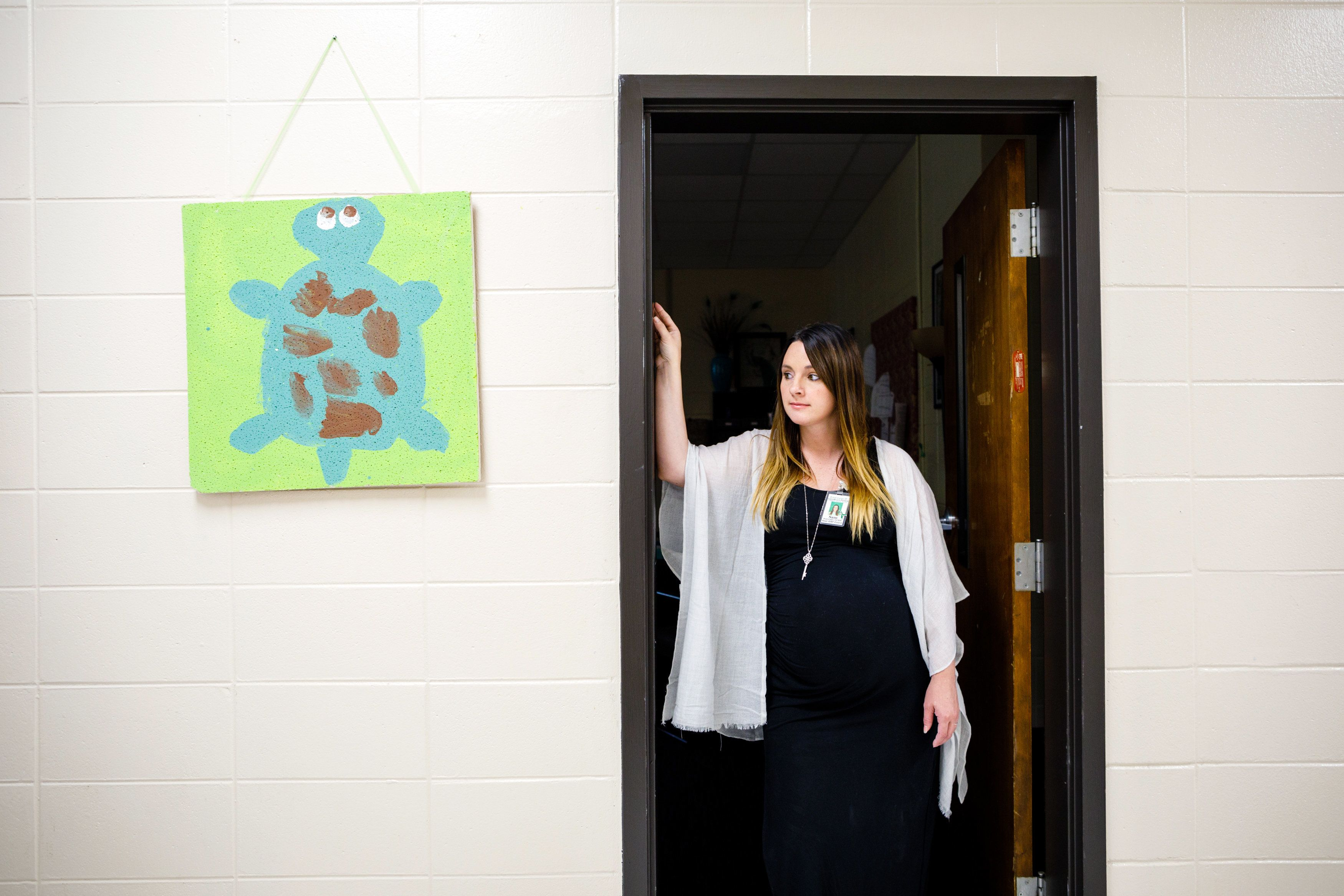 Samantha stands outside her office at the Board of Education in Thomasville, Georgia.