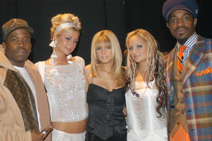 "Paris Hilton with fellow socialite, Nicole Richie (second from right) and (from left) ""self-made"" musicians Big B"