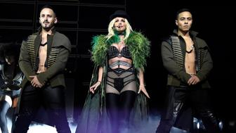 NATIONAL HARBOR, MD - JULY 12:  Britney Spears performs on stage during her 'Piece of Me' Summer Tour Opener at The Theater at MGM National Harbor on July 12, 2018 in National Harbor, Maryland.  (Photo by Kevin Mazur/BCU18/Getty Images )