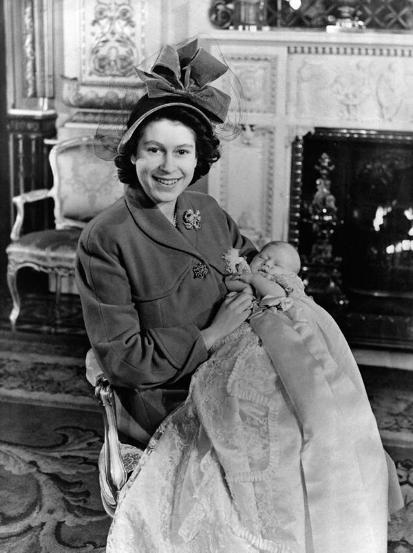 Then-PrincessElizabeth with Prince Charlesfollowing his christening onDec. 15, 1948.