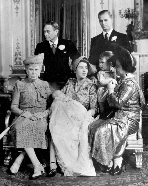 Four generations ofBritish royals gather around Princess Anne on her christening day in 1950.