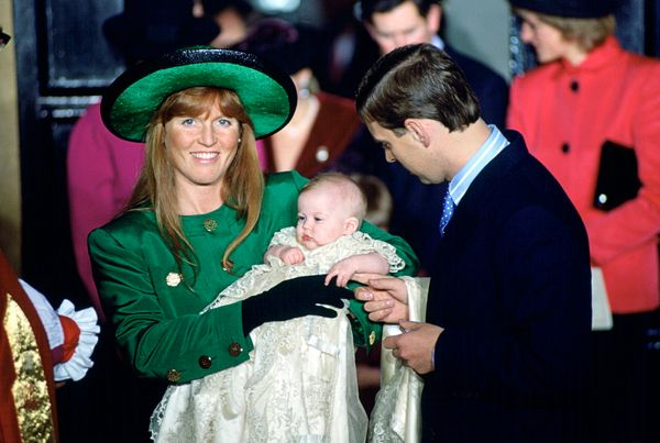 The Duchess of Yorkand Prince Andrew at The Chapel Royal at St James's Palace for Princess Beatrice's christening