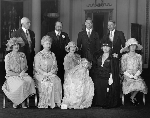 The RoyalFamily at Buckingham Palace for the christening of Princess Elizabeth.