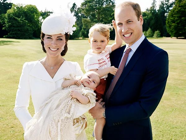 The Duke and Duchess of Cambridge, Prince George and Princess Charlotte, on the day of her christening, July 5, 2015.