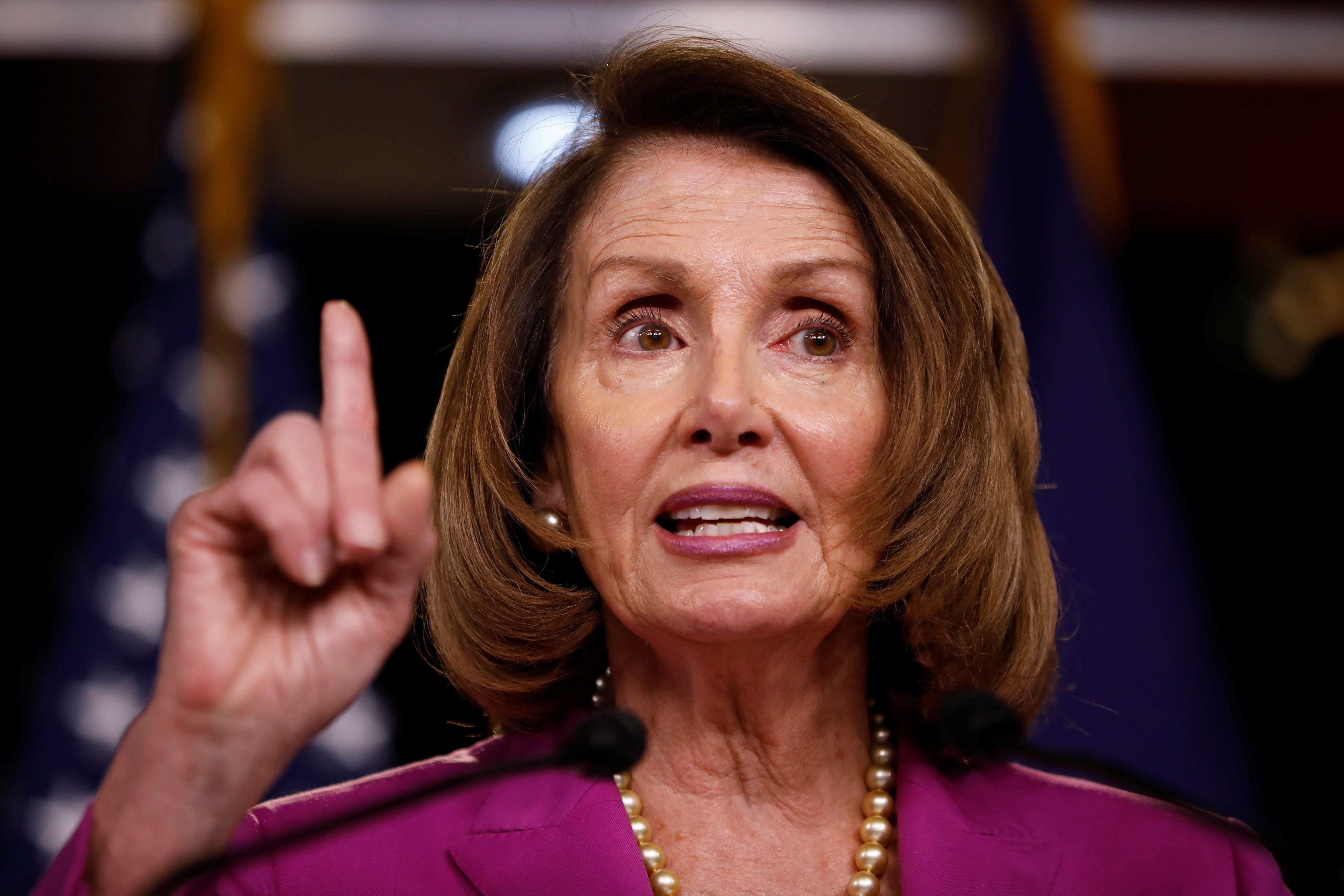 House Minority Leader Nancy Pelosi speaks with reporters during her weekly news conference on Capitol Hill in Washington, U.S., June 21, 2018.  REUTERS/Aaron P. Bernstein