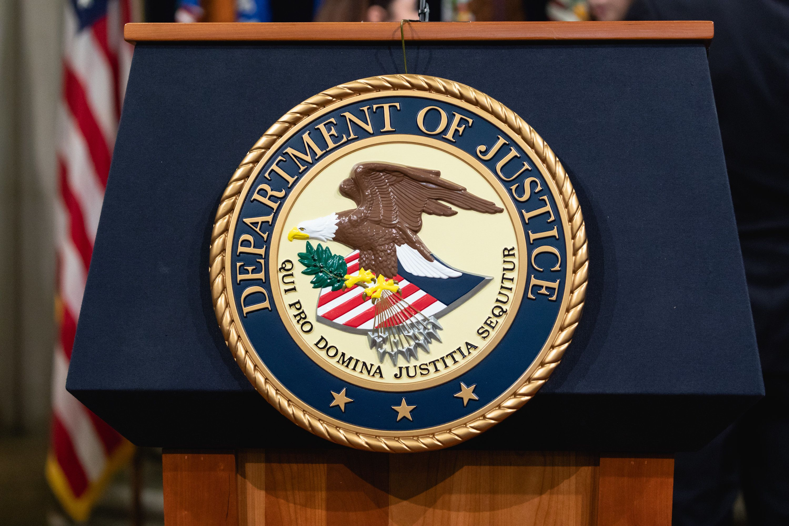 The Department of Justice seal, in Washington, D.C. on Thursday, April 12, 2018. (Photo by Cheriss May/NurPhoto via Getty Images)