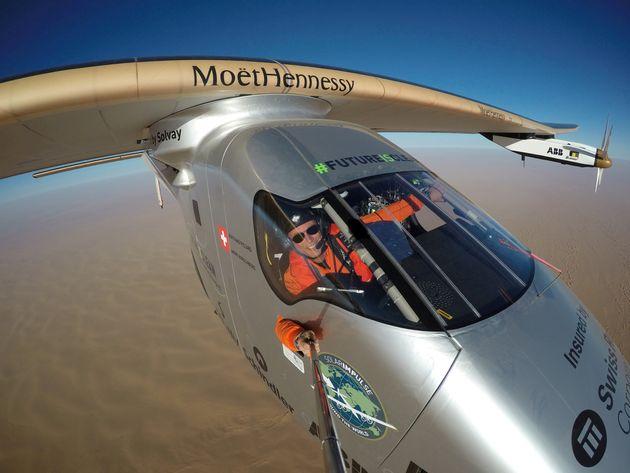 The Solar Impulse 2, a solar-powered plane, flies over the Arab peninsula on thelast leg of a round-the-world...
