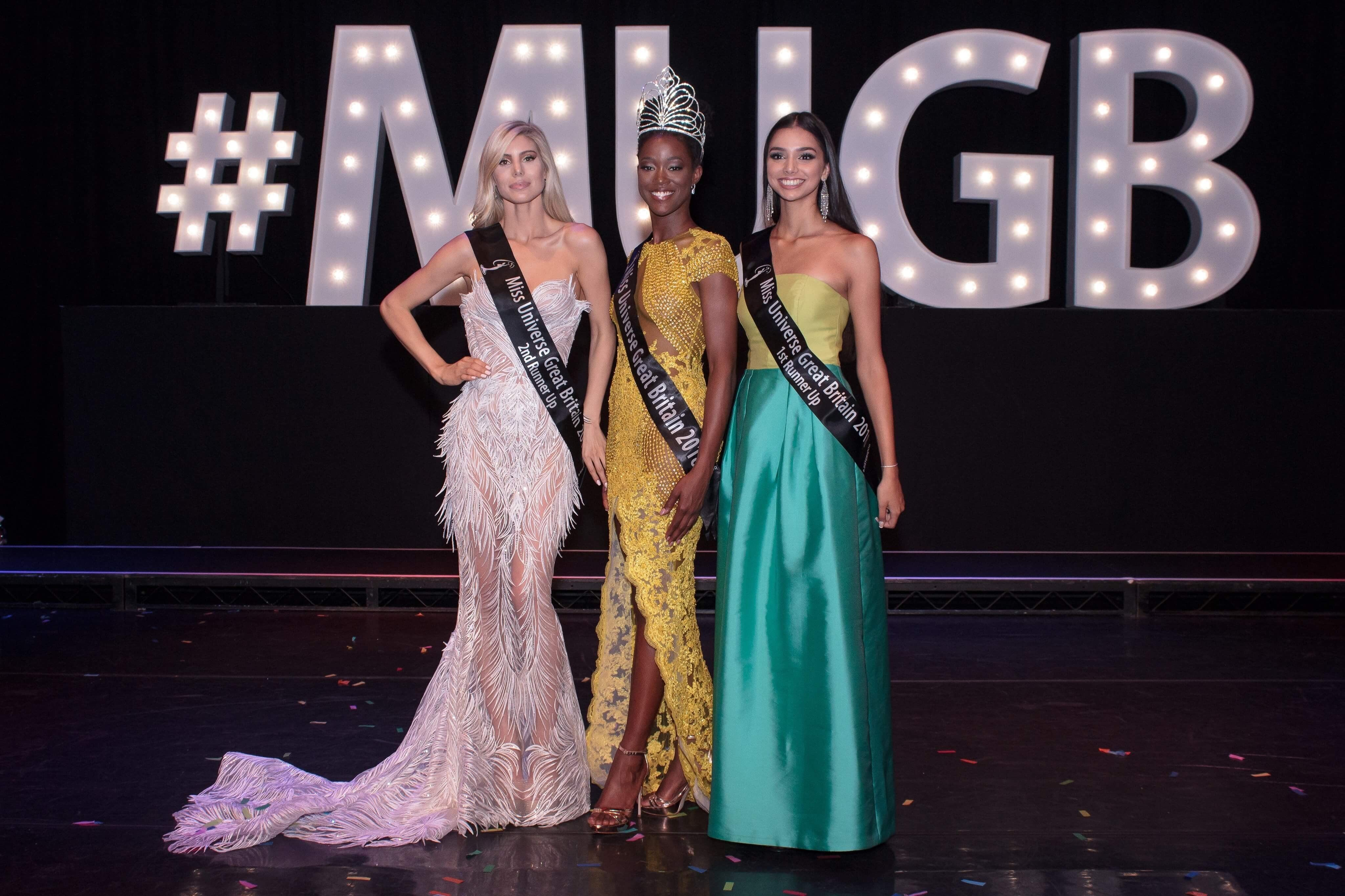 Dee-Ann Kentish-Rogers [center) alongside the runners-up after the Miss Universe Great Britain competition.