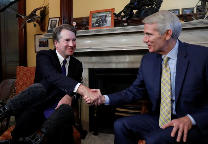 Supreme Court Justice nominee Brett Kavanaugh meets with Sen. Rob Portman (R-Ohio) at his office on July 11.