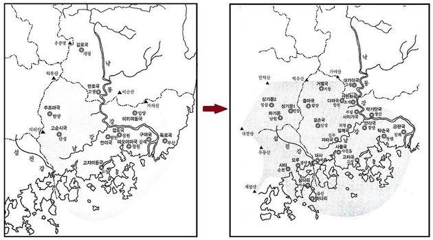 고대국가 가야의 역사는 서기 400년 고구려 광개토대왕이 한반도 남부의 가야와 왜병을 공략한 것을 기점으로 낙동강 하류 지역 중심으로 번성했던 전기 가야(왼쪽 그림)와 내륙지역을 중심으로...