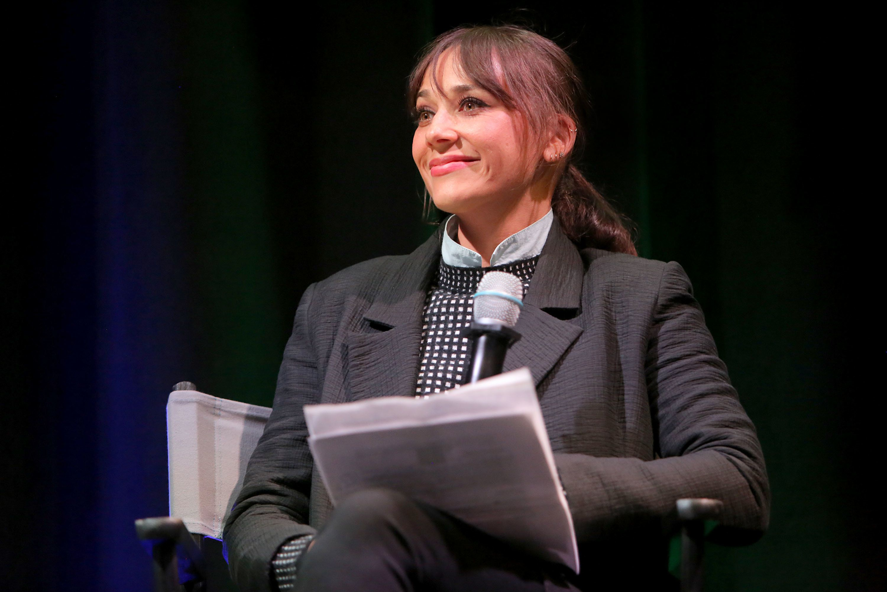 VENICE, CA - NOVEMBER 07:  Rashida Jones speaks onstage during the MGA Entertainment, Cast of Netflix's Project Mc2, and Rashida Jones celebration of National S.T.E.A.M. Day and the premiere of part 6 in L.A. at Google Headquarters on November 7, 2017 in Venice, California.  (Photo by Rachel Murray/Getty Images for MGA Entertainment)