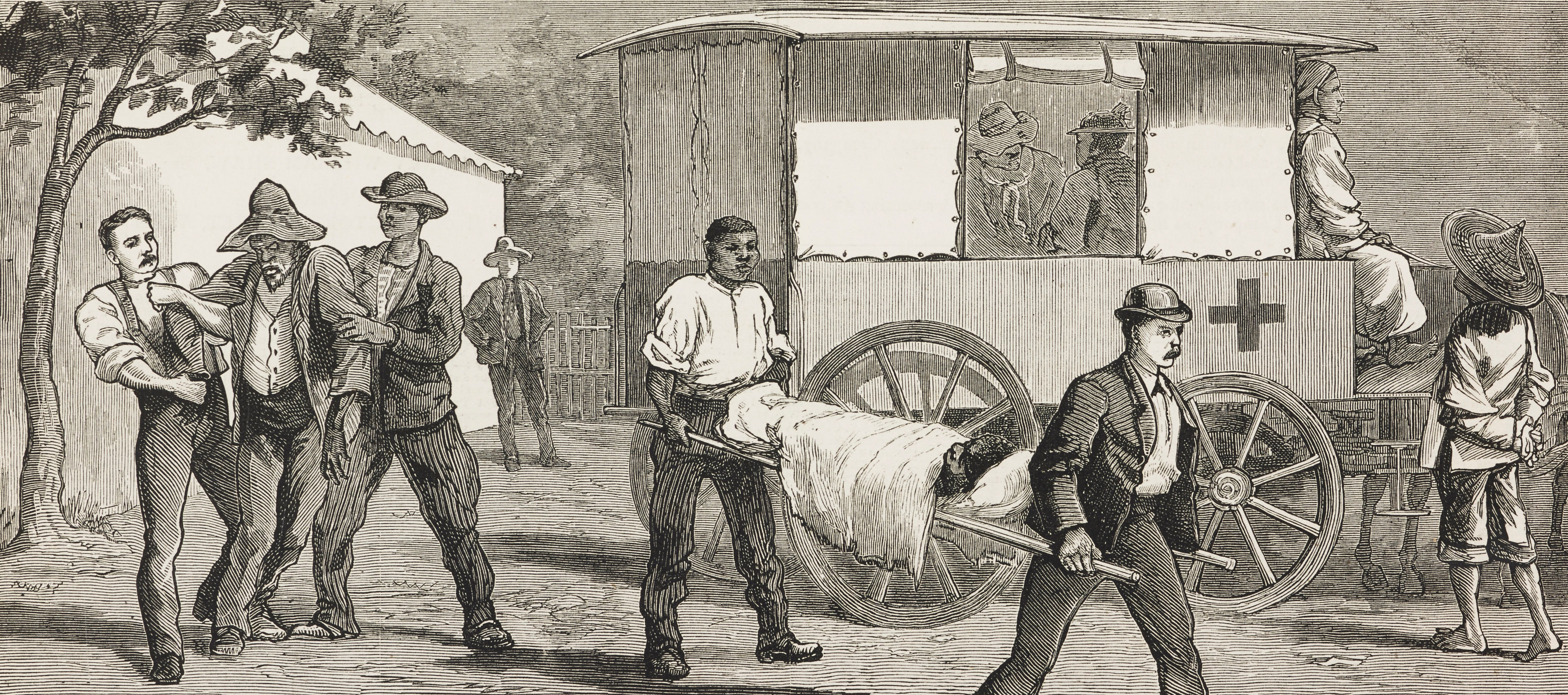 An illustration from 1883 shows patients in Cape Town, South Africa, suffering from smallpox.