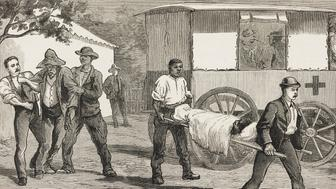 Ambulance, smallpox epidemic at Cape Town, South Africa, illustration from The Graphic, volume XXVII, no 685, January 13, 1883.