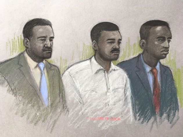 Court artist sketch of (left to right) Merse Dikanda, Jonathan Okigbo, and George Koh at The Old...