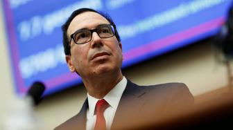 U.S. Secretary of the Treasury Steven Mnuchin testifies to the House Financial Services hearing on state of the international financial system on Capitol Hill in Washington, U.S., July 12, 2018.      REUTERS/Joshua Roberts