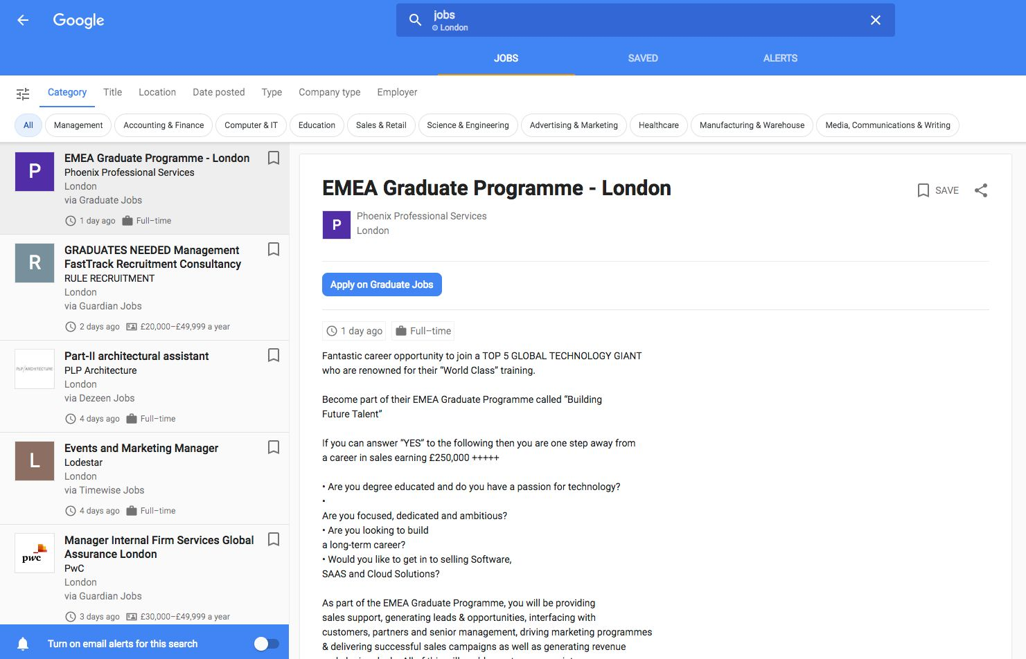 Google launches job hunting service in the UK