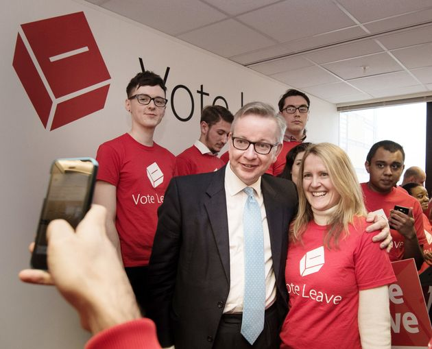 Darren Grimes (back left) with Michael Gove at the launch of the Vote Leave campaign at the group's headquarters...