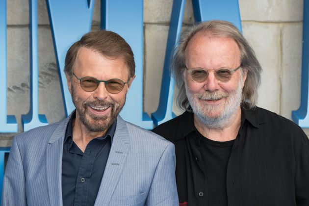 (L-R) Bjorn Ulvaeus and Benny Andersson from ABBA attend the UK Premiere of 'Mamma Mia! Here We Go Again'...