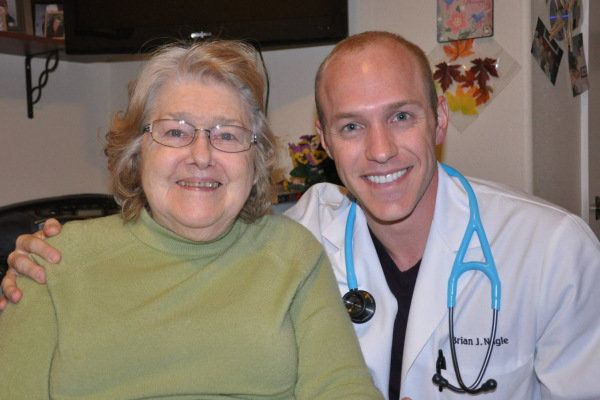 Dr. Brian Nagle (right) with his grandmother and culinary inspiration. Nagle is a resident at MedStar Georgetown University Hospital and just graduated from the University of Central Florida College of Medicine, where culinary medicine is taught.