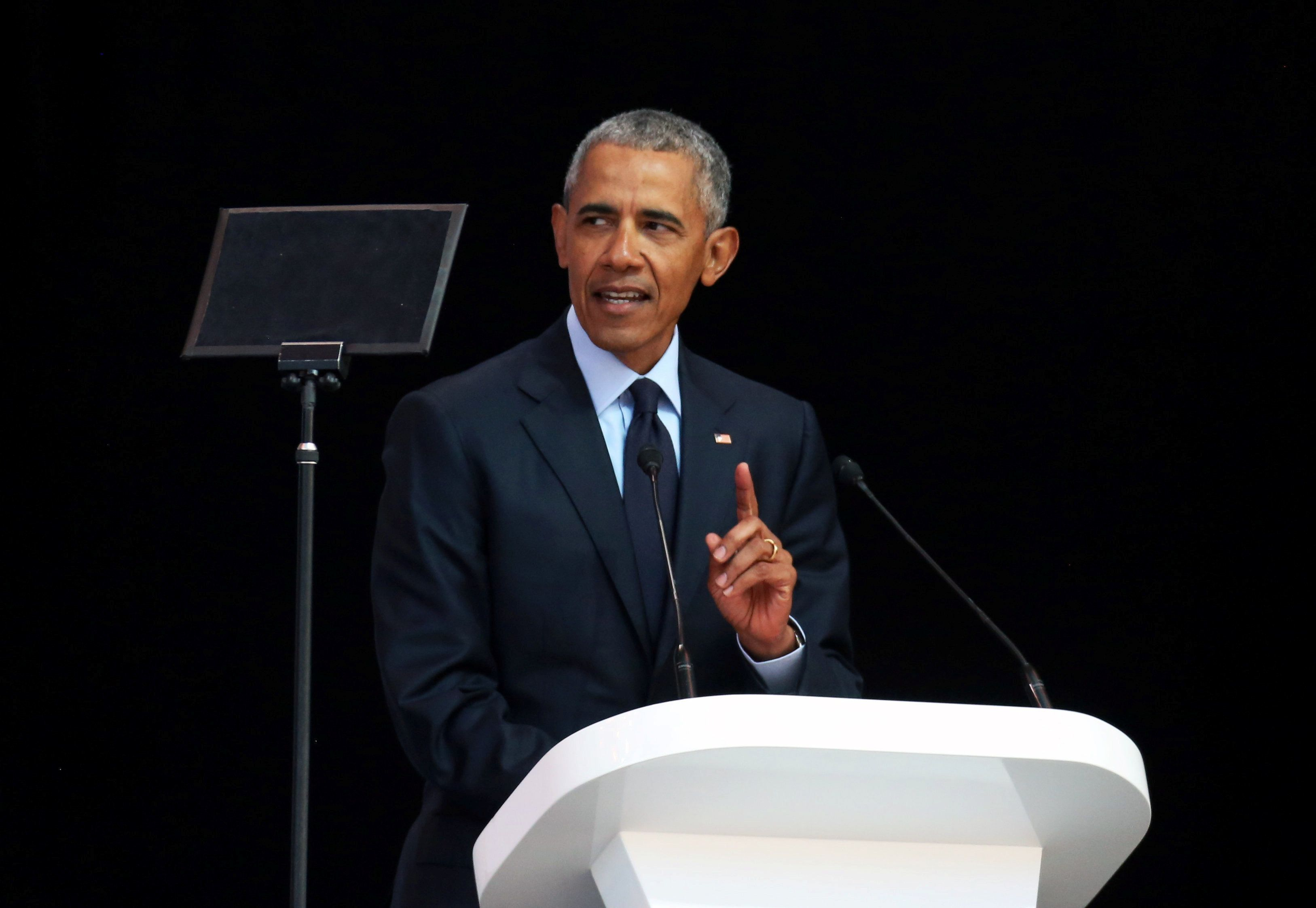 Former U.S. President Barack Obama delivers the 16th Nelson Mandela annual lecture, marking the centenary of the anti-apartheid leaderÕs birth, in Johannesburg, South Africa July 17, 2018. REUTERS/Siphiwe Sibeko
