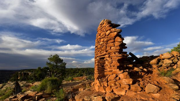 CEDAR MESA, UT - JUNE 11: The best preserved of seven towers at the Mule Canyon Cave Towers site, just one of more than 100,000 archaeological sites in the Bears Ears National Monument is photographed June 11, 2017 south of Cedar Mesa, UT.  After a four-month review of federal lands and waters, Interior Secretary Ryan Zinke says President Trump should reduce the size of Bears Ears. (Photo by Katherine Frey/The Washington Post via Getty Images)