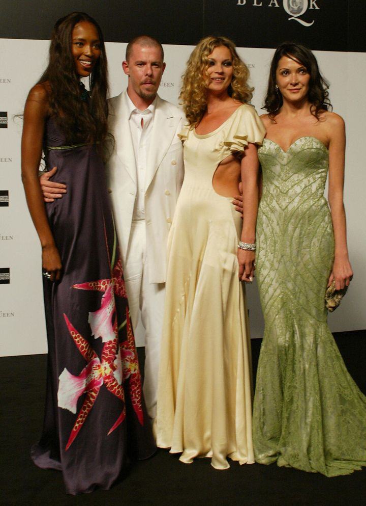 Naomi Campbell, Alexander McQueen, Kate Moss and Annabelle Neilson pictured together in London on June 3, 2004.