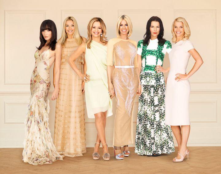 Annabelle Neilson, Caroline Fleming, Marissa Hermer, Caroline Stanbury, Juliet Angus and Julie Montagu pose for a photo for B