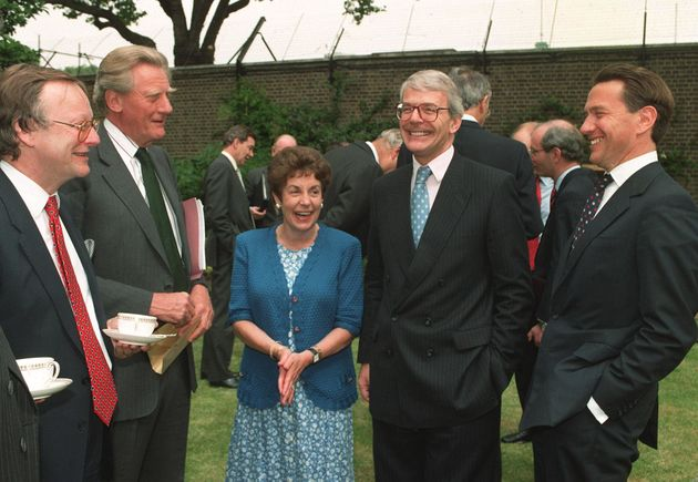 John Major, pictured with Michael Portillo, far right, - one of the so-called 'bastards' - in the