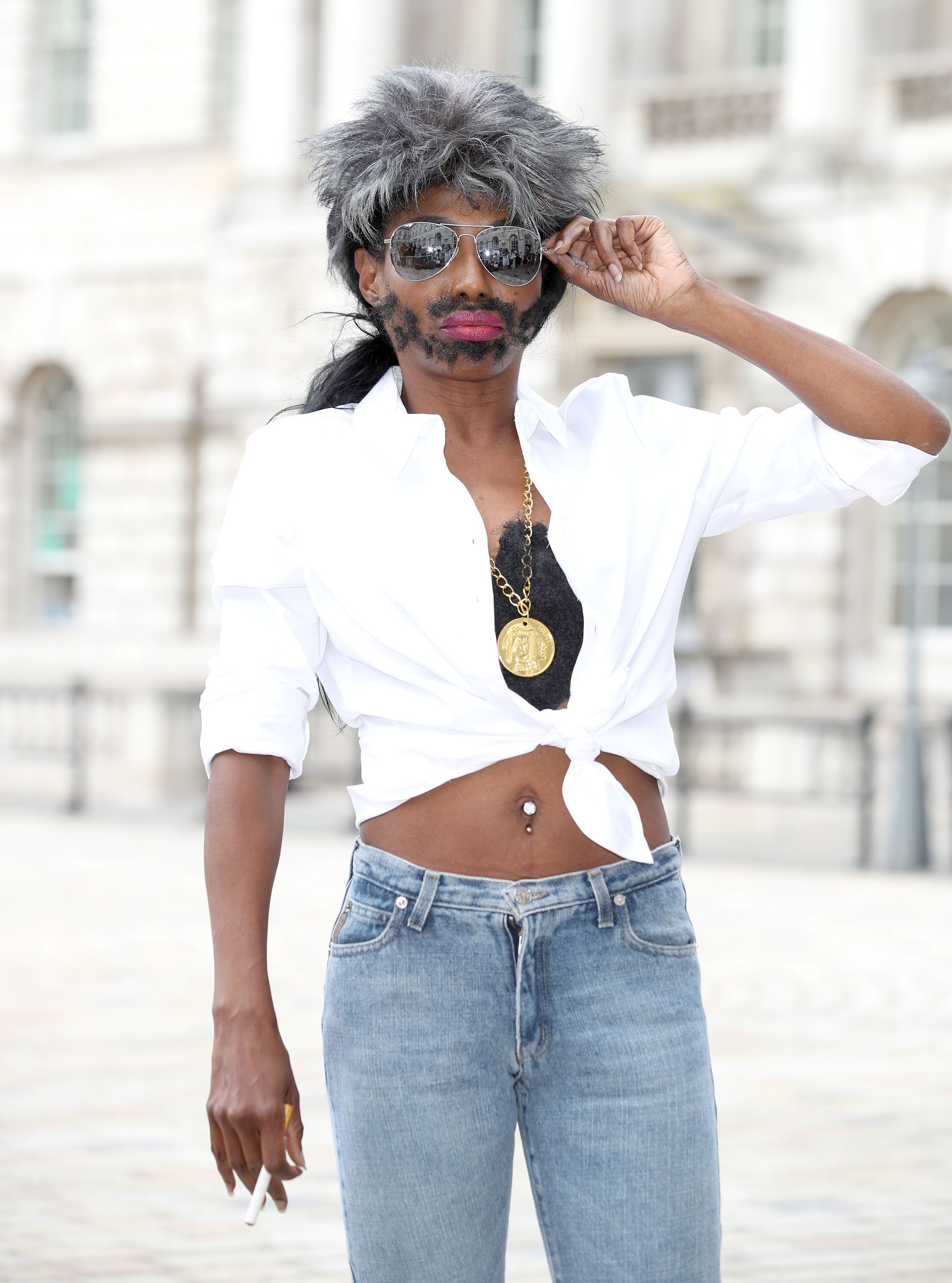 Sinitta Arrives At 'X Factor' Press Conference Dressed As Simon Cowell